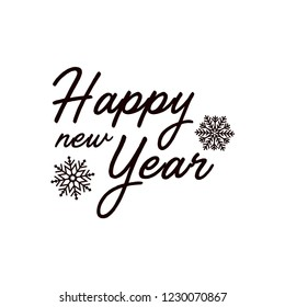 Happy new year, typography, calligraphy, lettering, snowflakes vector illustration