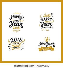 Happy New Year Typography Emblems Set