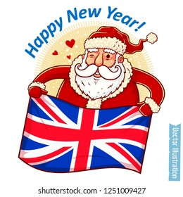 Happy New Year United Kingdom - Santa Claus with UK flag in hands. Santa holds flag of Great Britain. Greeting sticker, tshirt print with slogan, xmas design. Isolated layered vector illustration
