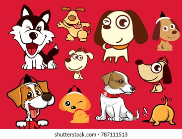 Happy New Year! A variety of Cartoon Cute Dog character mascot series for Chinese New Year design. The Year of Dog 2018.
