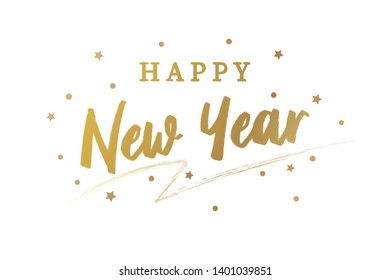 Happy New Year. Vector Golden Text. Greeting card.