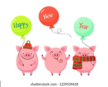 happy new year vector greeting card with funny piglets