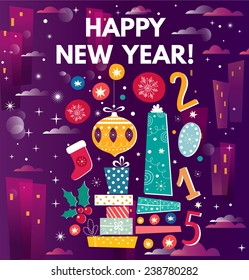 Happy New Year. Vector illustration with gift boxes