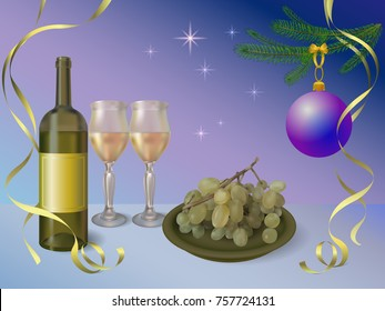 Happy new year vector illustration with wine, glasses and grapes