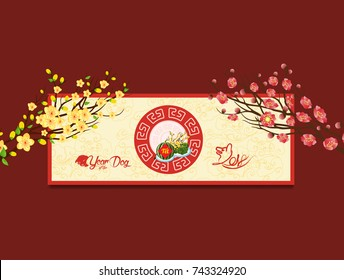 "Happy new year. Vietnamese new year. Translation ""Tet"": Lunar new year"
