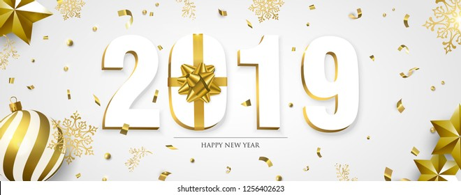 Happy New Year web banner, 3d 2019 number sign with gold gift box ribbon. Confetti, bauble ornaments and snowflakes on white background.