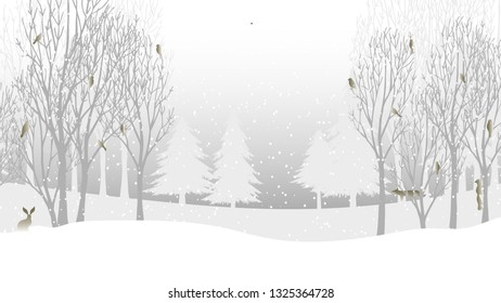 Happy New Year. Winter holiday landscape with snowdrifts and snowy fir trees. Vector illustration. Seasonal nature background. Frosty snow hills