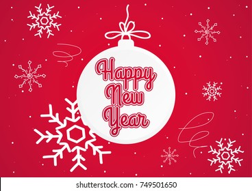 Happy new year winter holiday poster with snow flake and ball cristmas toy for the christmas tree on the red background