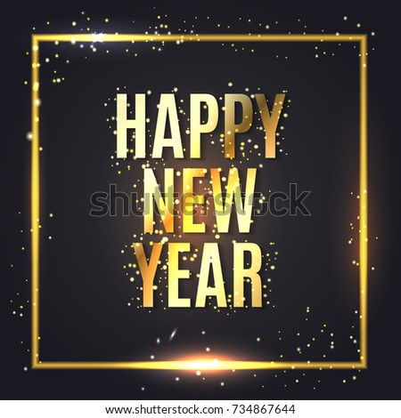 happy new year wishes greeting card with gold glitter confetti on premium luxury black with magic