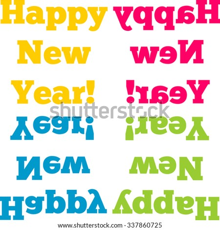 Happy New Year Words Mirror Reflections Stock Vector (Royalty Free ...