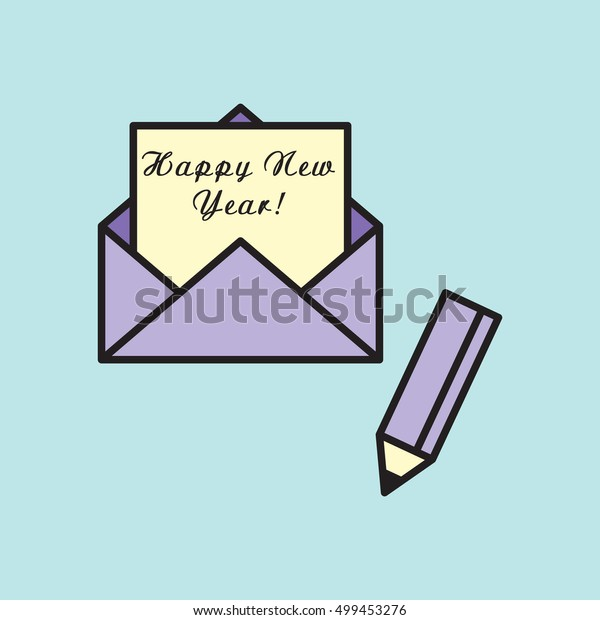 Happy new year Written Inside An Envelope, Letter With pencil. Icon in Flat Style Vector Illustration. Flat Design.