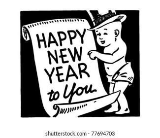 Happy New Year To You - Retro Ad Art Banner