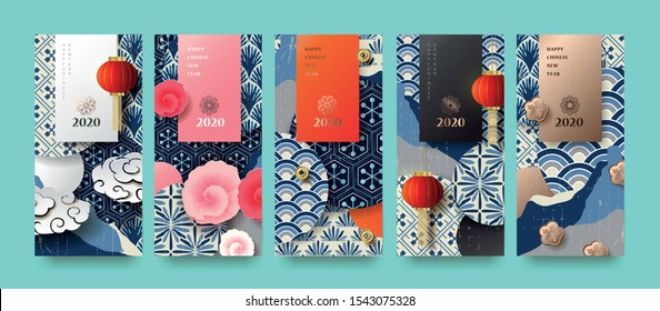 Happy new year.2020 Chinese New Year Greeting Card, poster, flyer or invitation design.Vector illustration.