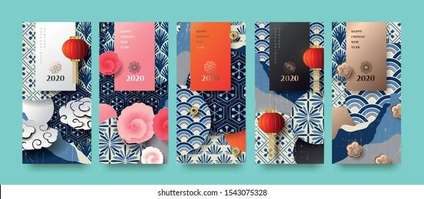 Happy new year.2020 Chinese New Year Grußkarte, Poster, Flyer oder Einladung Design.Vektorgrafik.