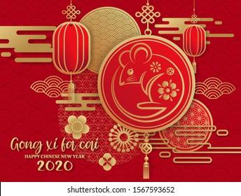 Happy New Year 2020 Gong Xi Fa Cai , Jahr der Ratte, Chinesischer Neujahrsgruß mit goldenem Ratten Zodiac Schild Papier Schneide Kunst und Handwerk Stil