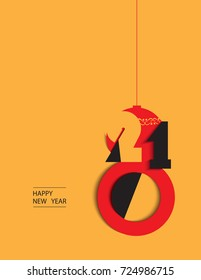 Happy New Year,cutout stylized red,orange and black 2018 year.Vector illustration.