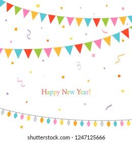 Happy new year.Party flags with party confetti