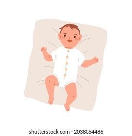 Happy newborn baby in bodysuit. Top view of smiling joyful infant in clothes. Adorable little boy lying on pillow. New born child. Flat vector illustration isolated on white background