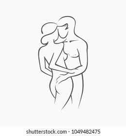 Happy newlyweds hug and kiss. Kama sutra sexual pose. Sex poses illustration of man and woman on white background. Vector graphic icon