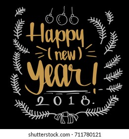 Happy Newyear 2018 0n dark background, illustration vector greeting and invitation card design.