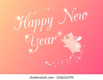 Happy NewYear greeting card and fairy little pig