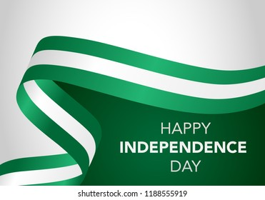 Happy Nigeria Independent Day. Template of greeting card, banner with lettering of Happy Independence Day. Waving nigeria flags isolated on white background. vector illustration.