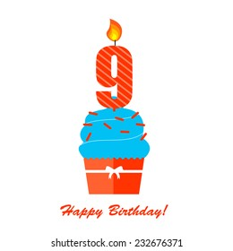 Happy Ninth Birthday Anniversary card with cupcake and candle in flat design style, vector illustration