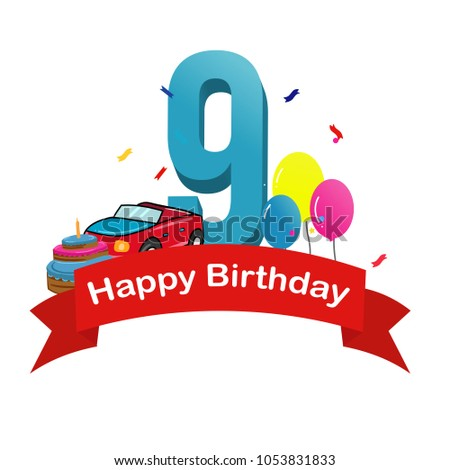 Happy Ninth Birthday Baby Boy Greeting Card With Race Car Cake And Balloons Vector