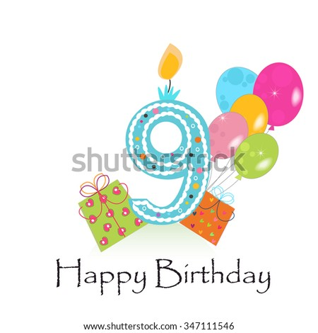 Happy Ninth Birthday Card With Gift Box And Balloons