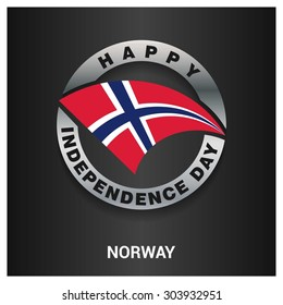 Happy Norway independence day Flag metal badge - National Day silver border - Vector illustration