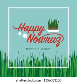 Happy Nowruz celebration card and social media post with fresh semeni grass