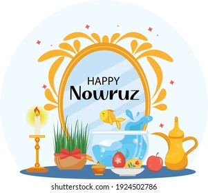 Happy Nowruz day greeting card, template for your design. New Year in Iran. Vector illustration, clip art.