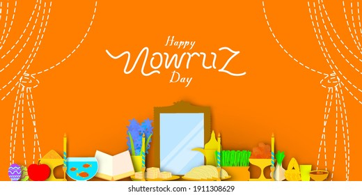 Happy nowruz day in paper art style. Translation: Happy Persian New Year (Nowruz)