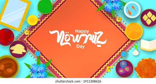 Happy nowruz day with persian carpet in paper art style. Translation: Happy Persian New Year (Nowruz)