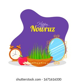 Happy Nowruz Font with Semeni (Grass) Bowl, Apple, Alarm Clock and Oval Mirror on Purple and White Background.