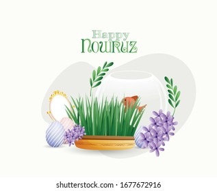 Happy Nowruz with Goldfishi Bowl, Grass, Apple, Painted Eggs