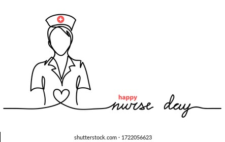 Happy Nurse Day simple vector web banner, background. Nurse day lettering. One continuous line drawing.