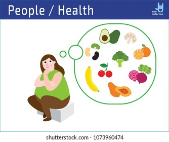 Happy obese woman think to diet food.