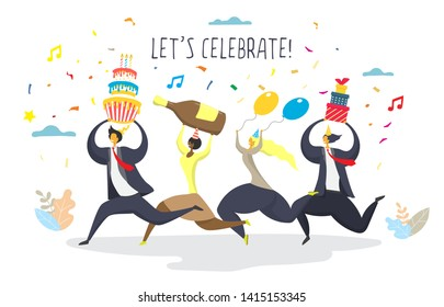 Happy office people cartoon characters going to the party with cake, champagne, balloons, gift boxes, vector flat illustration. Corporate party event celebration concept for web banner, website page.