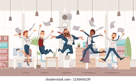 Happy Office Workers Jumping up. Office Fun. People Work in Office. Happy Workers in Workplace. Corporate Culture in Company. Cheerful Working Day. Colleagues at Work. Vector Illustration.