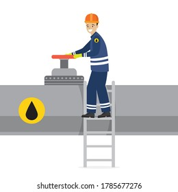 Happy oilman standing on ladder and turns big pipeline valve. Oil industry and worker or engineer in special clothing and helmet. Gas or oil pipe, male character isolated on white. Vector illustration