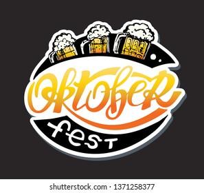 Happy OktoberFest - cute vector lettering Label Banner