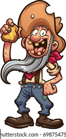 Happy old cartoon prospector holding a piece of gold. Vector clip art illustration with simple gradients. All in a single layer.