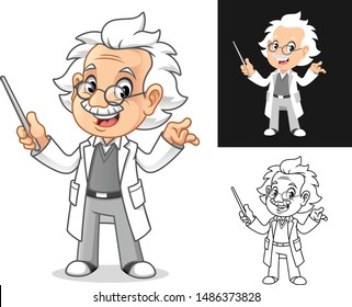 Happy Old Man Professor with Glasses Holding a Pointer Stick Cartoon Character Design, Including Flat and Line Art Designs, Vector Illustration, in Isolated White Background.