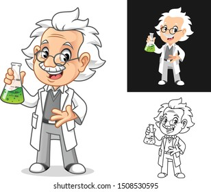 Happy Old Man Professor with Glasses Holding Potion in a Erlenmeyer Flask Cartoon Character Design, Including Flat and Line Art Designs, Vector Illustration, in Isolated White Background.