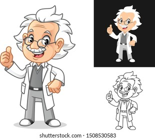 Happy Old Man Professor with Thumbs Up Gesture Cartoon Character Design, Including Flat and Line Art Designs, Vector Illustration, in Isolated White Background.