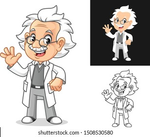 Happy Old Man Professor with Waving Hand Gesture Cartoon Character Design, Including Flat and Line Art Designs, Vector Illustration, in Isolated White Background.