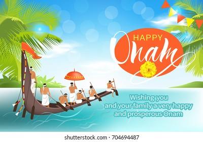 Happy Onam background with boat race (vallamkali) for South India harvest festival. Vector illustration.