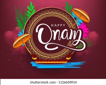 Happy Onam background South India harvest festival background for Happy Onam festival of South India Kerala