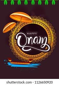 Happy Onam background South India harvest festival background for Happy Onam festival of South India Kerala